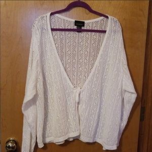 White open work shrug